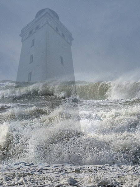 Rubjerg Knude Fyr unter Wasser Fotomontage