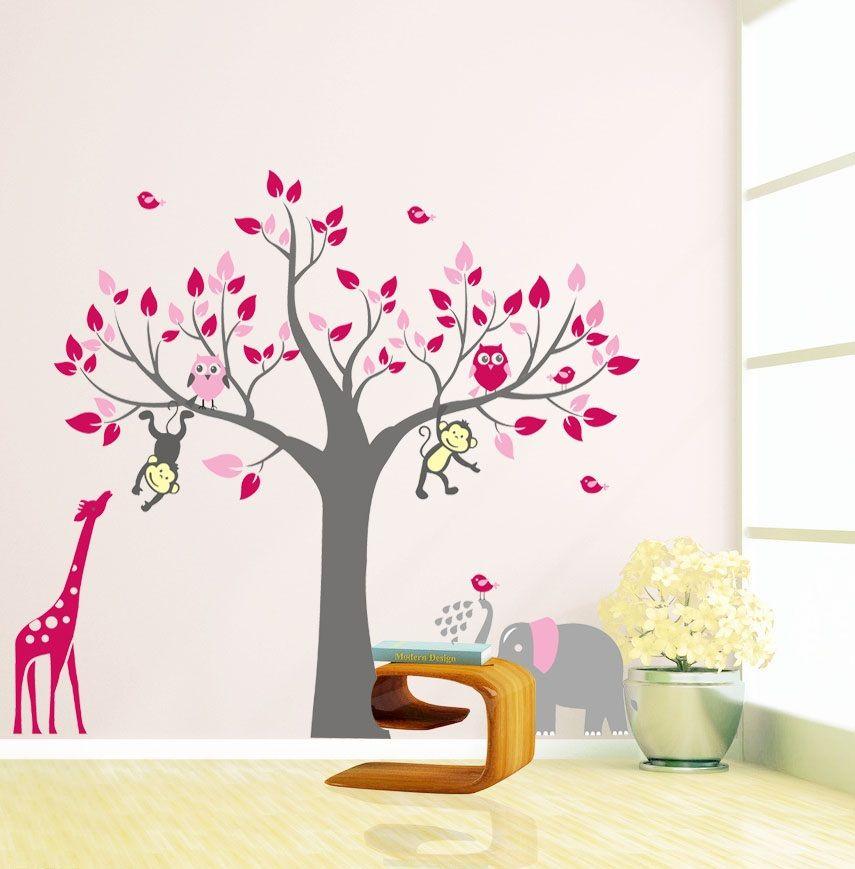 Boom met giraffe aap en uilen roze  Muurstickers