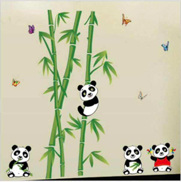 Muursticker Bamboe Panda Beren  Muurstickers Babykamer