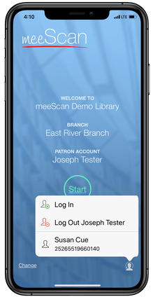 screenshot of Meescan proxy borrowing for mobile self-checkout