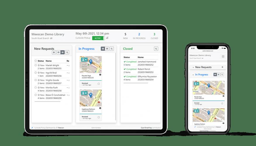 Screenshots of Meescan Curbside Pickup dashboard on iPad and iPhone