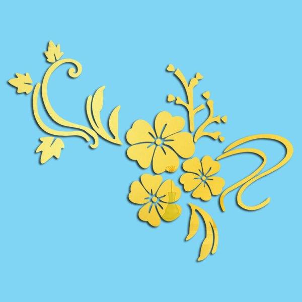 鏡面貼紙(金色木槿花)