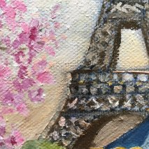 carousel and Eiffel tower- original oil painting - Edwige Mitterrand