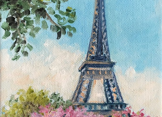 Eiffel tower and cherry trees