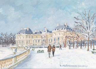 Promenade sous la neige au jardin du Luxembourg