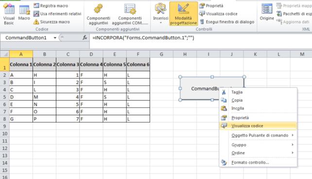 Visualizza codice bottone VBA. Macro Excel