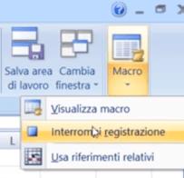 Interrompi registrazione Macro Excel