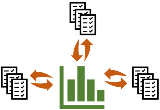 Image showing documents around a graph to represent data coming from multiple places into a central evidence base