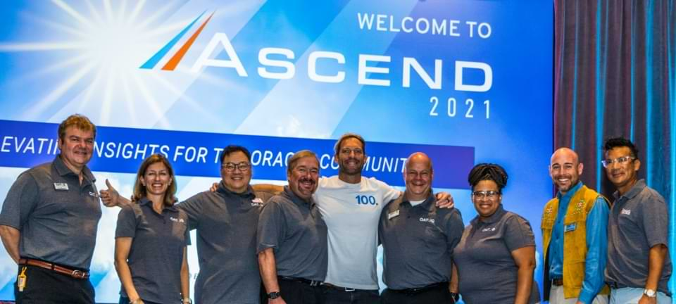 OATUG and OHUG board members on stage at Ascend 2021