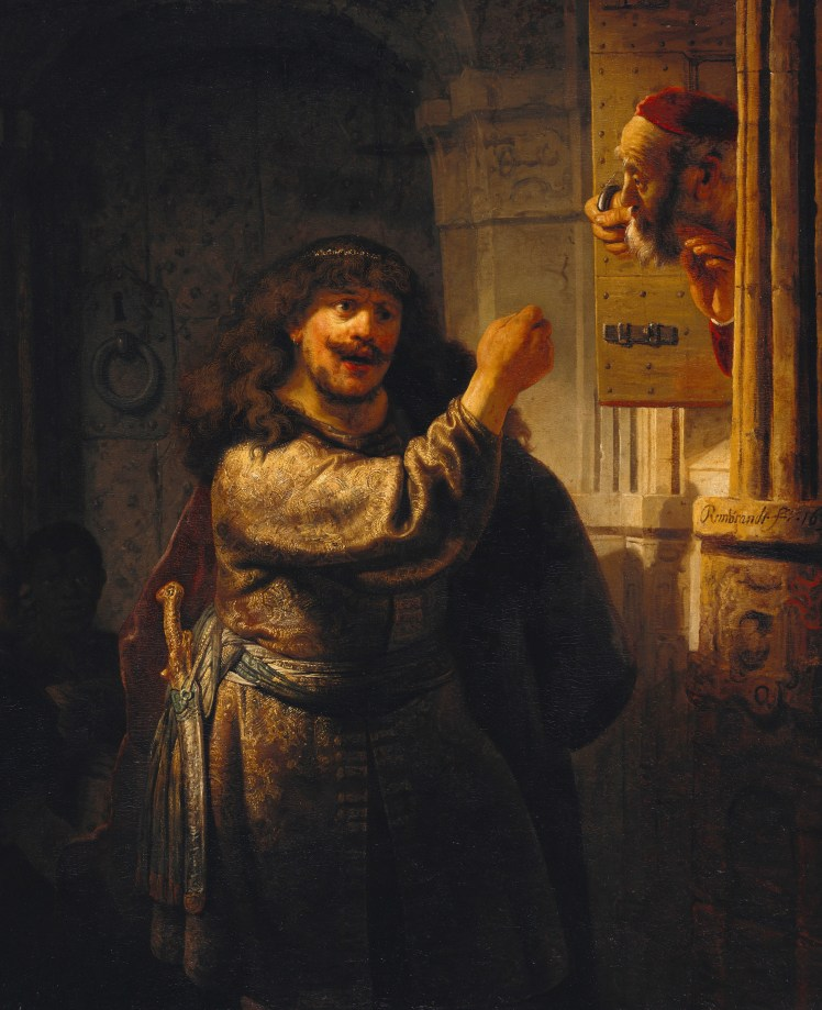 Samson threatens father in law Rembrandt