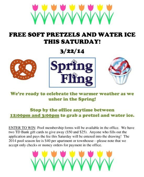 Spring Water Apartments: SPRING FLING- Free Water Ice And Pretzels