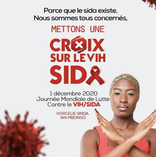 Photo credit: Horcelie Sinda Wa Mbongo/Instagram. Translation: Because AIDS exists it concerns us all. Put a stamp on HIV/AIDS. 1st December 2020, Global Day of Action Against HIV/AIDS