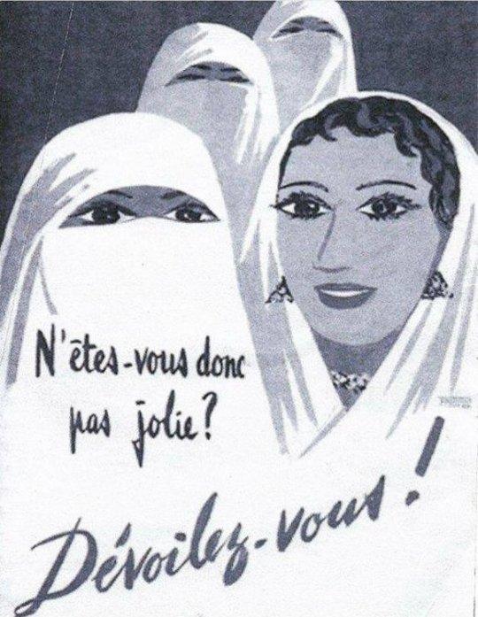 """French Colonial Poster N'êtes-vous donc pas jolie? Dévoilez-vous!: """"Are you not pretty? Unveil Yourself!"""""""