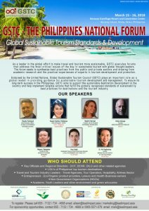 Philippines National Forum on Global Sustainable Tourism Standards & Management to be held