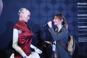 Sophia, the AI Robot interacts with attendees