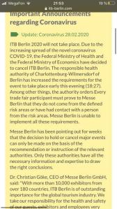 The official version: ITB Berlin 2020 Cancellation