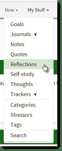 My Stuff menu Reflection