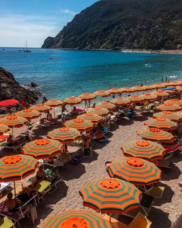A beach scene with dozens of umbrellas striped with green and orange, the calm azure water is lapping invitingly onto the sand