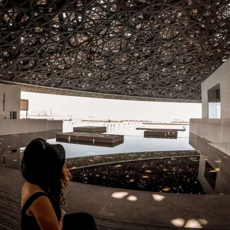 Overlooking the stunning roof of the Louvre, Abu Dhabi