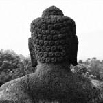 Borobudur buddha black and white