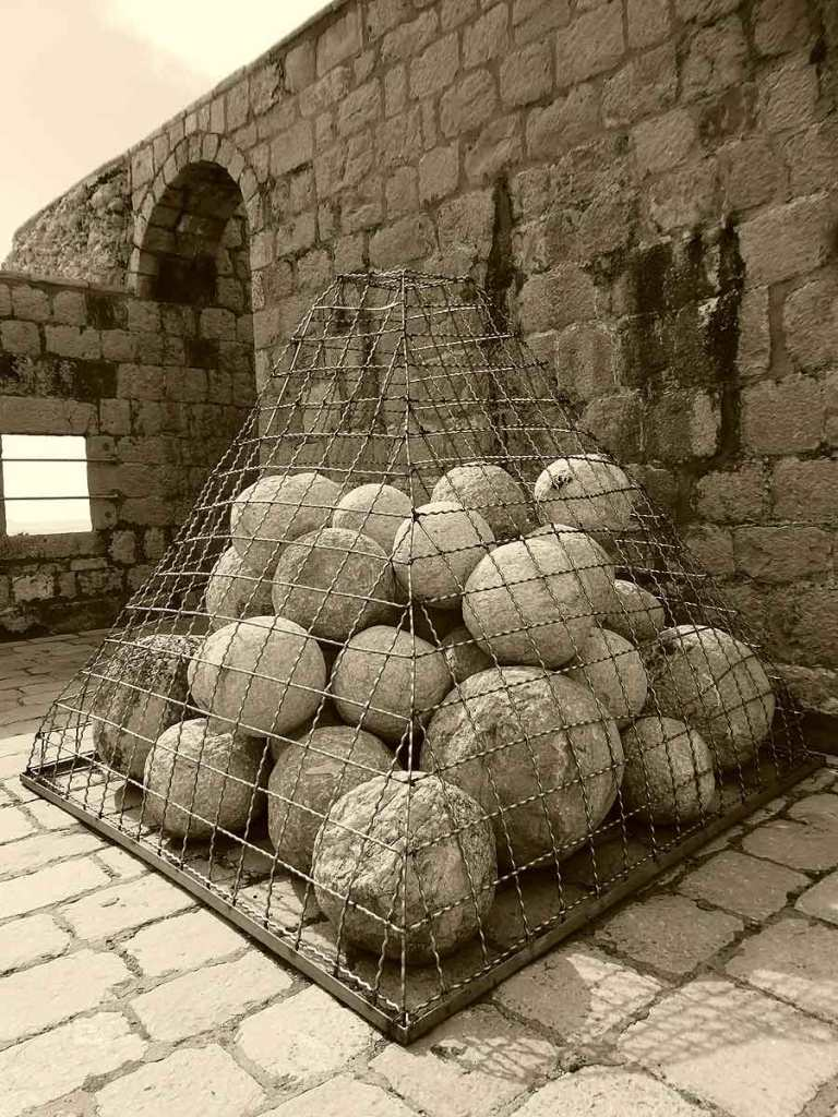 A pile of cannon balls inside the fortress in Dubrovnik