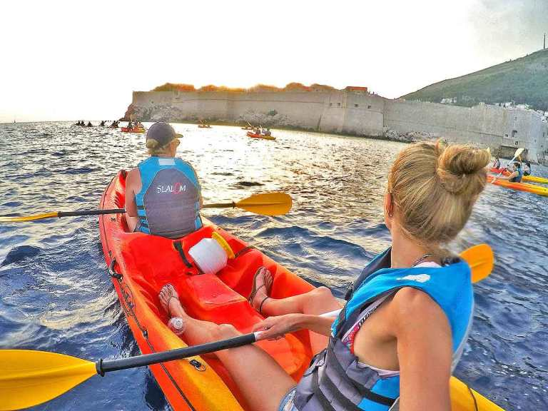 View of Dubrovnik City Walls from a Kayak at sunset