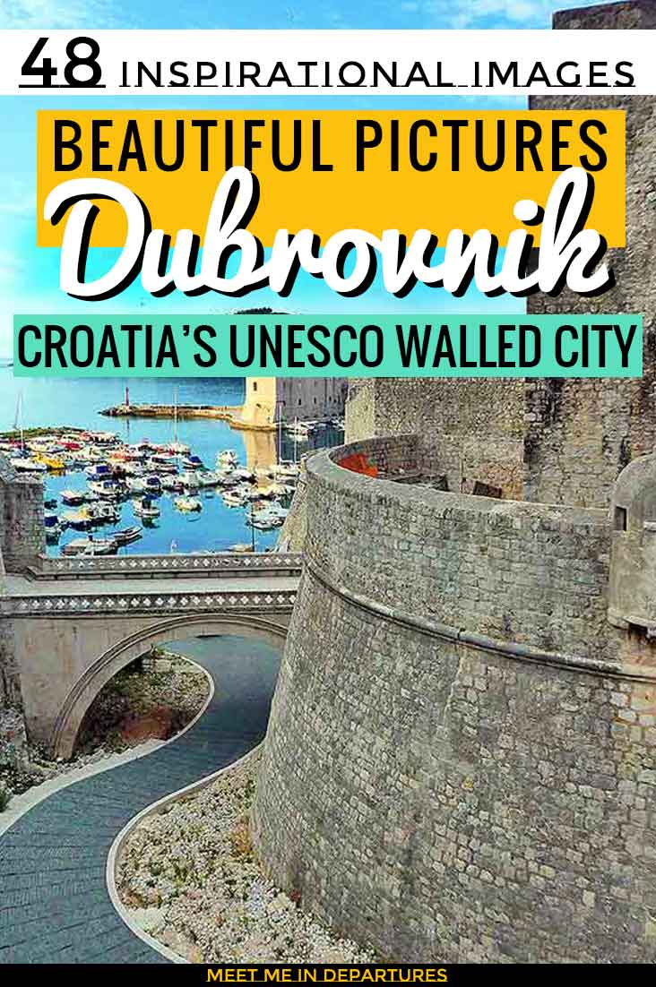 52 Beautiful Pictures of Dubrovnik to give you wanderlust. Photos of Croatia Old City Walls, UNESCO sites, Game of Thrones Locations & the Azure Sea. Get a sneak preview of all the things to see in Dubrovnik including the best Instagramable spots. #Dubrovnik #GoT #Croatia #Adriatic