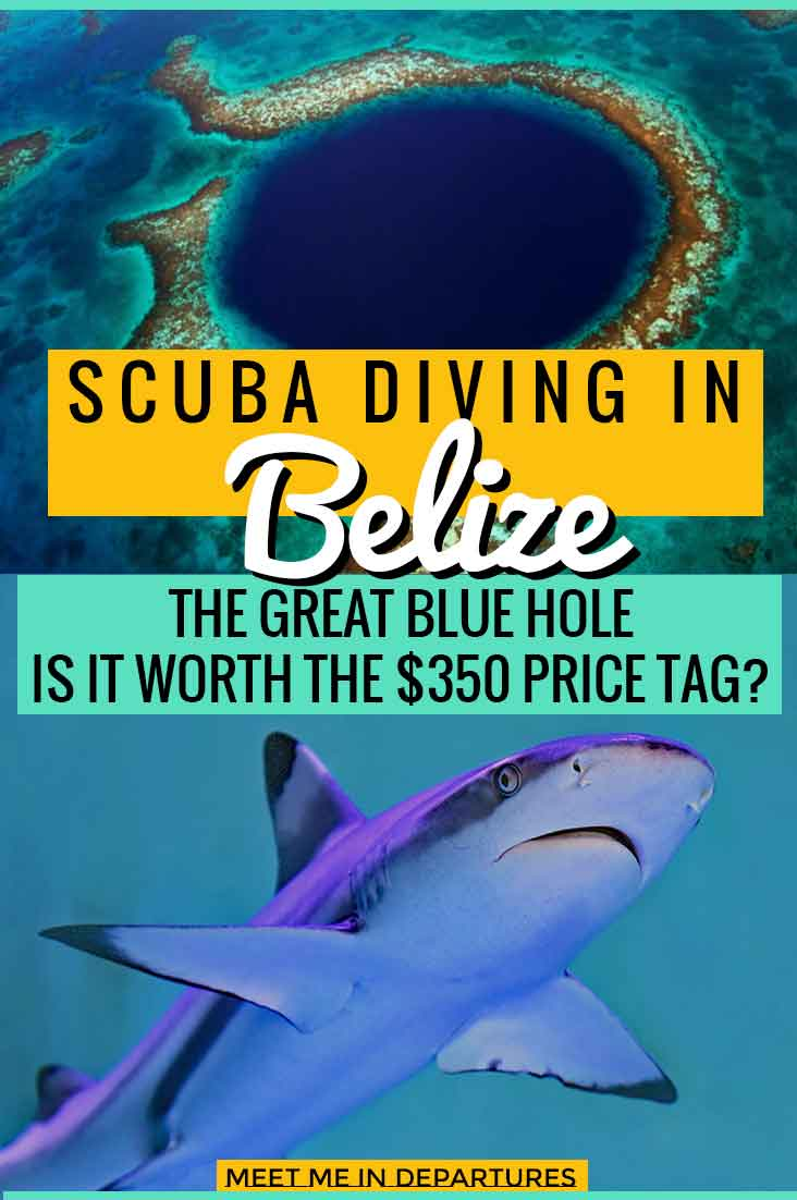 Scuba diving in the blue Hole Belize, all you need to know. Is it worth the $350 price tag? I'll let you decide for yourself. Beautiful scuba diving in Belize at the UNESCO Blue Hole. Look out for sharks and the stunning rock formaations. This certainly needs to be on your Central America Bucket List. #Belize #GreatBlueHole #CentralAmerica #ScubaDiving