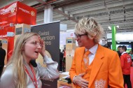 Chatting at the Switzerland booth.
