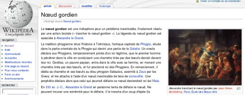 Nœud Gordien, Wikipédia français