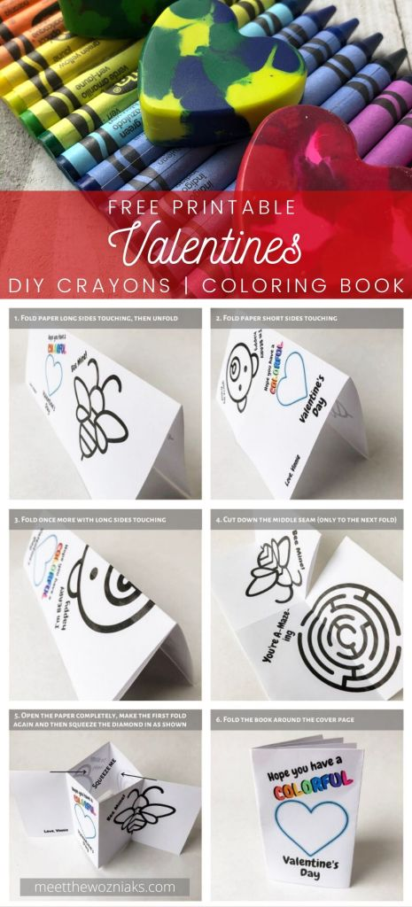 Free printable activity book and DIY heart crayons for your classroom valentine cards for kids