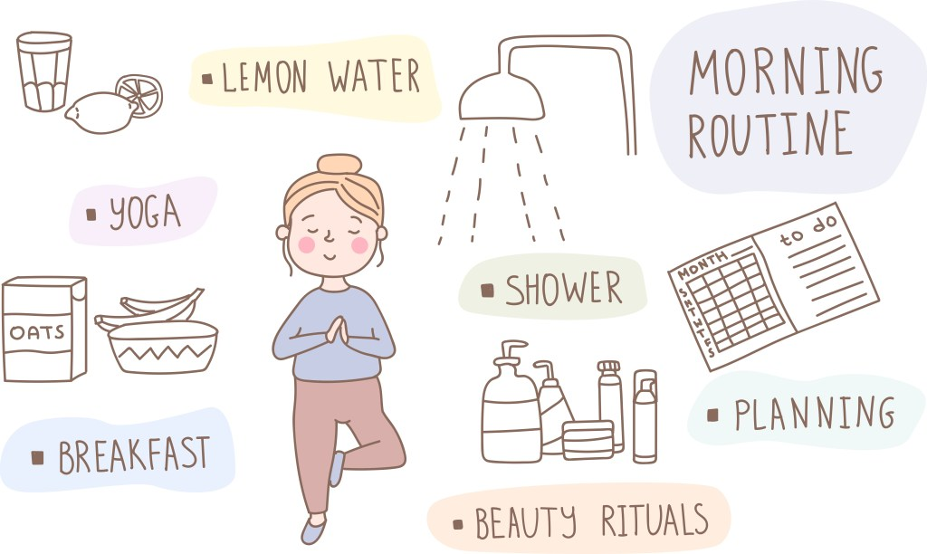 Illustration of a morning routine