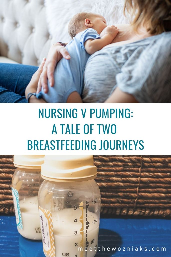 Nursing v Pumping: one photo of a mom nursing and one of pumped bottles of milk
