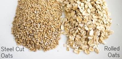 We all know the rolled oats shown on the right but the steel cut ones on the left are much healthier because they less processed so they a lot of soluble and insoluble fiber. This means the steel cut oats are great for digestion and they keep you feeling full.