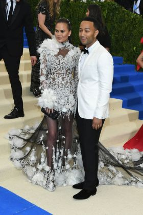 Chrissy Teigen and John Legend in Marchesa