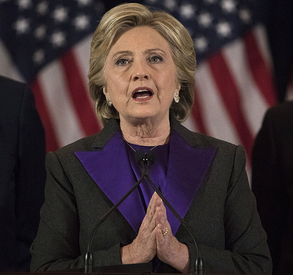 Hillary Clinton's Concession Speech Ralph Lauren suit. Picture by Getty Images