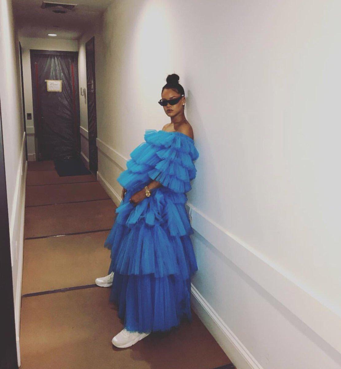 Rihanna wearing Molly Goddard via Instagram @badgalriri
