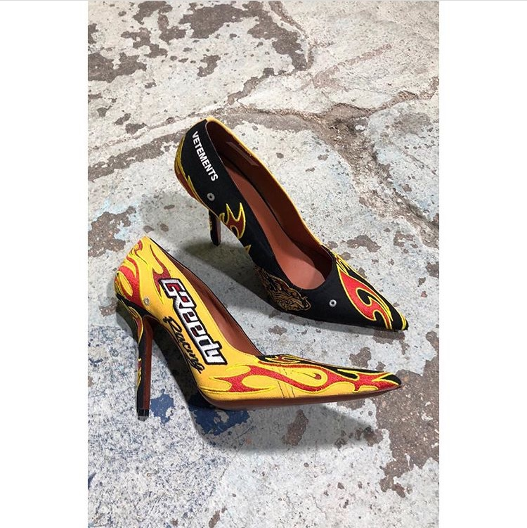"""Vetements' New """"FW19 Racing Shoes"""" Stiletto Heels are FIRE"""