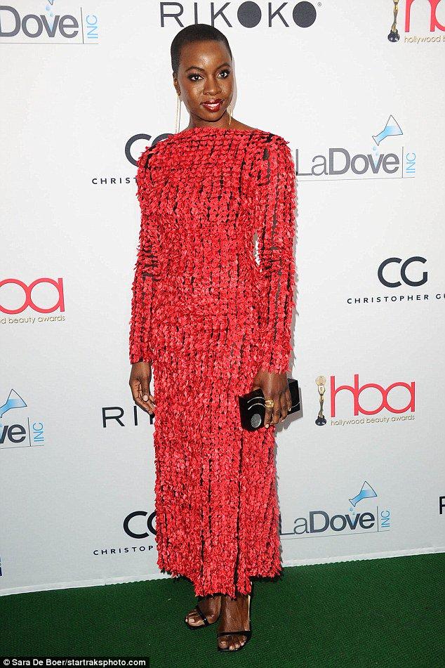 Danai Gurira wearing Christopher Kane to the 4th Annual #HollywoodBeautyAwards in LA