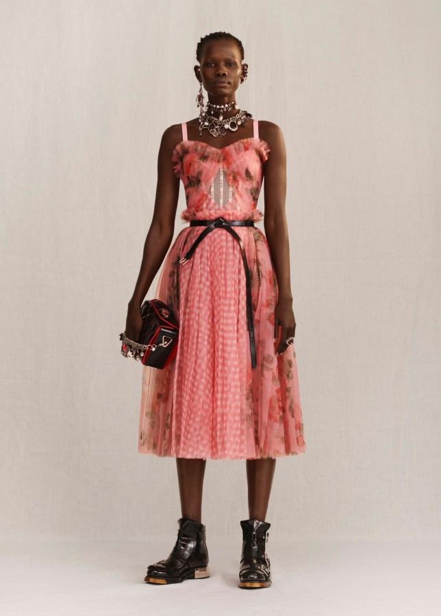 Shanelle Nyasiase modelling for Alexander McQueen via Instagram @alexandermcqueen