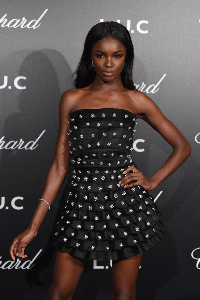 Leomie Anderson at a Chopard event at Cannes Film Festival 2018 via Instagram @leomieanderson