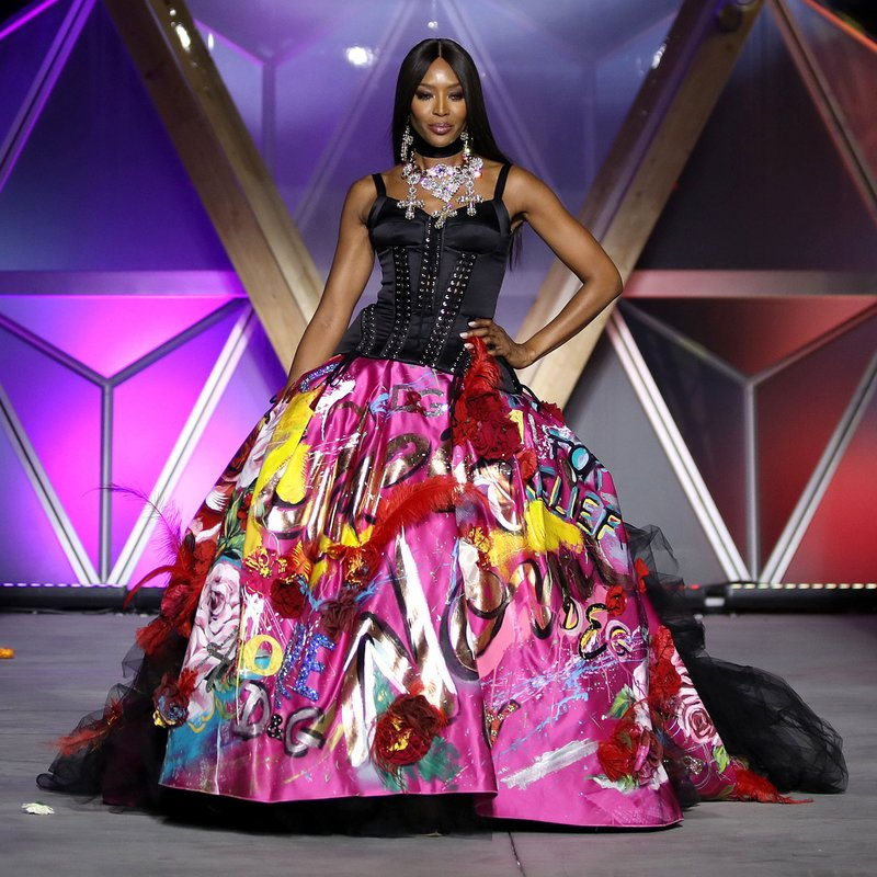 Naomi Campbell on the runway during Fashion For Relief Cannes 2018. Photo by Mike Marsland/WireImage