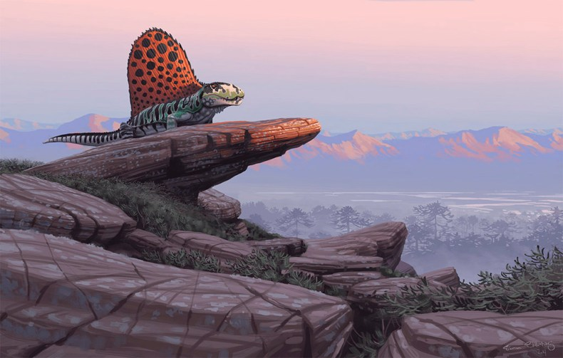 dimetrodon simon stalenhag dinosaure