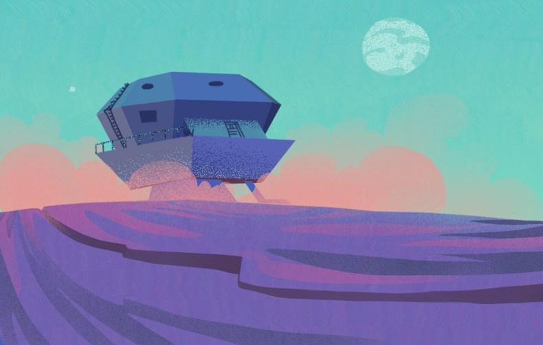 illustration atterrisage navette sur planete neon