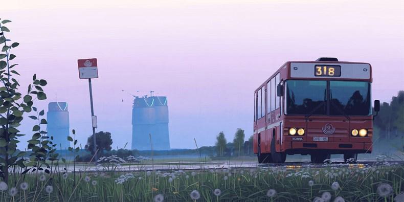 illustration bus crepuscule simon stalenhag