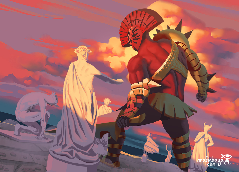 illustrations de carte. Cele-ci se concentre sur un géant gardien de tombes durant la Grece antique.