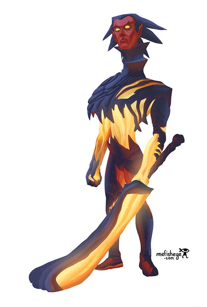 Illustration en couleur du personnage de Kuroi, concept de guerrier dragon pour le jeu de société Argox