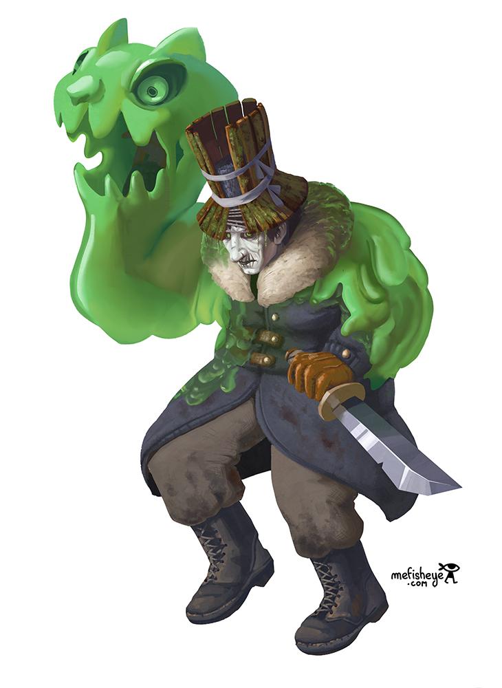 Illustration en couleur du personnage de Wilfried, soldat allemand maudit appartenant à l'univers du jeu de plateau Argox.