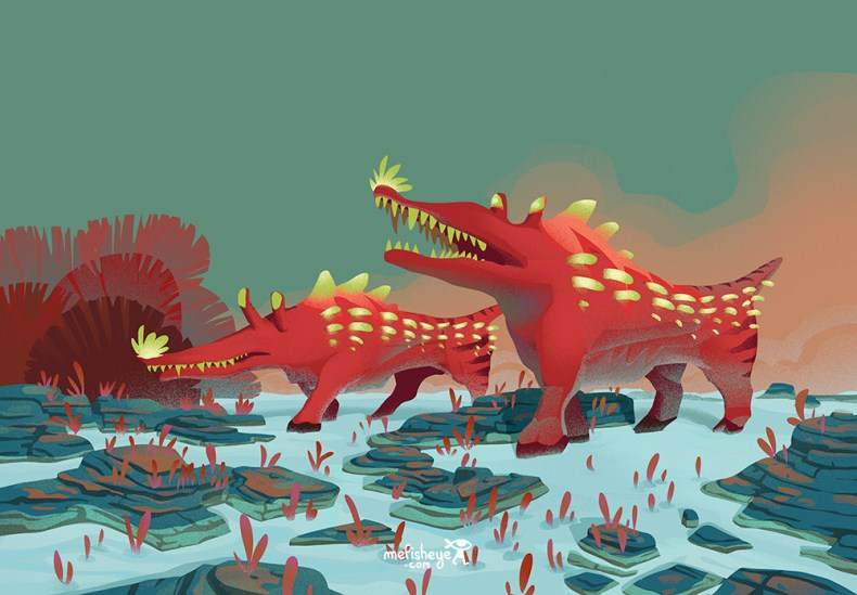 illustration d'animaux sauvages imaginaires. Il appartiennent à mon projet de jeu de société.