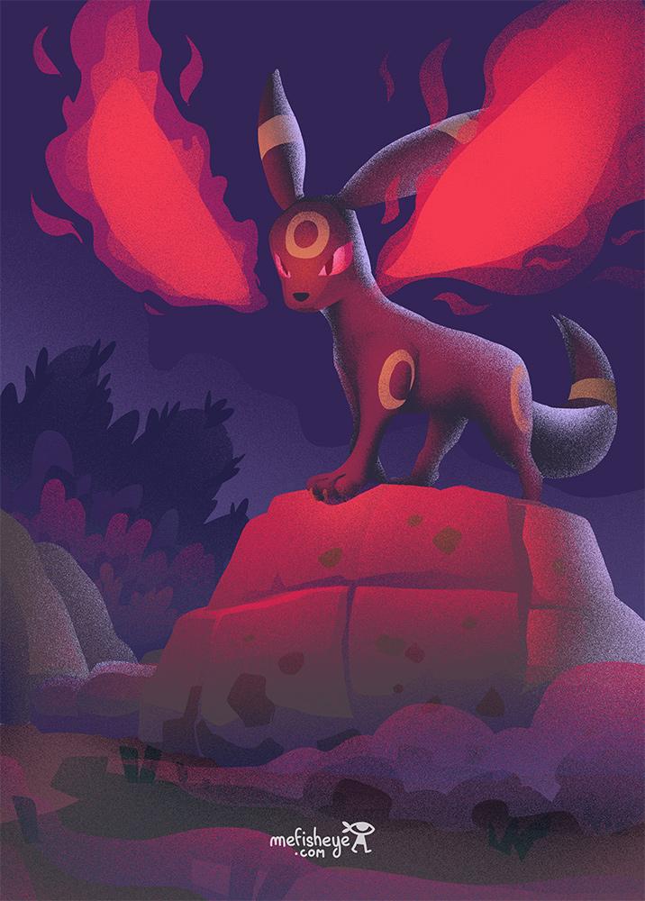 Illustration d'un animal en couleur. Il s'agit du pokemon nommé Noctali. Posé sur un rocher, il intimide son adversaire en lançant une magie.